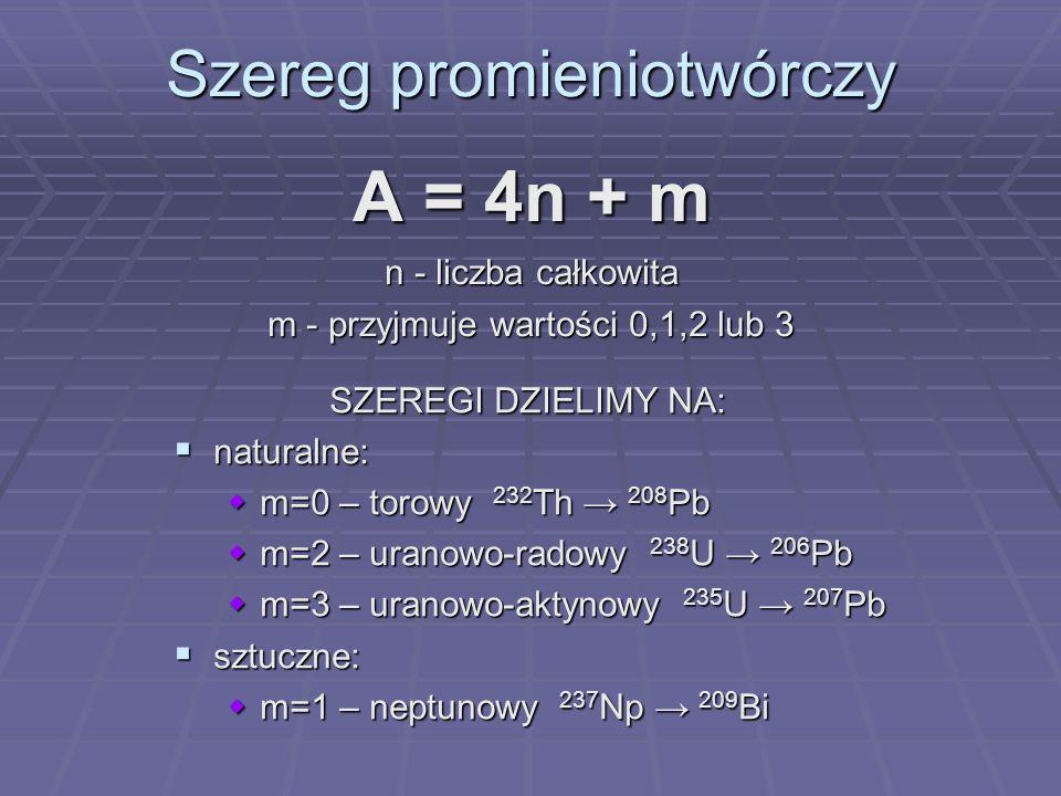 Szereg promieniotwórczy A = 4n + m n - liczba całkowita m - przyjmuje wartości 0,1,2 lub 3 SZEREGI DZIELIMY NA: SZEREGI DZIELIMY NA: naturalne: natura