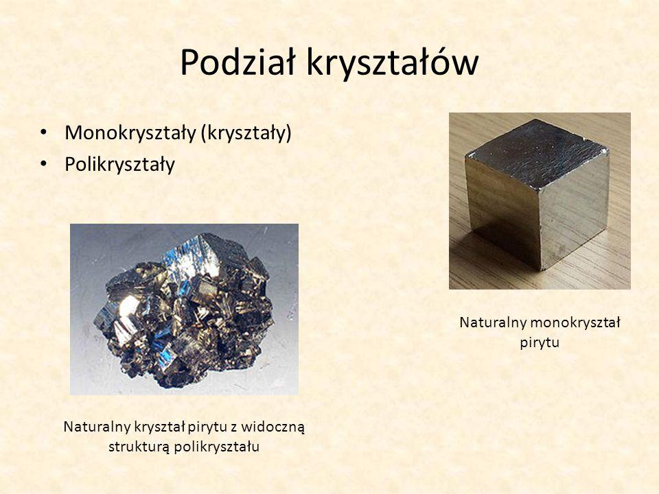 Podział kryształów Monokryształy (kryształy) Polikryształy Naturalny monokryształ pirytu Naturalny kryształ pirytu z widoczną strukturą polikryształu