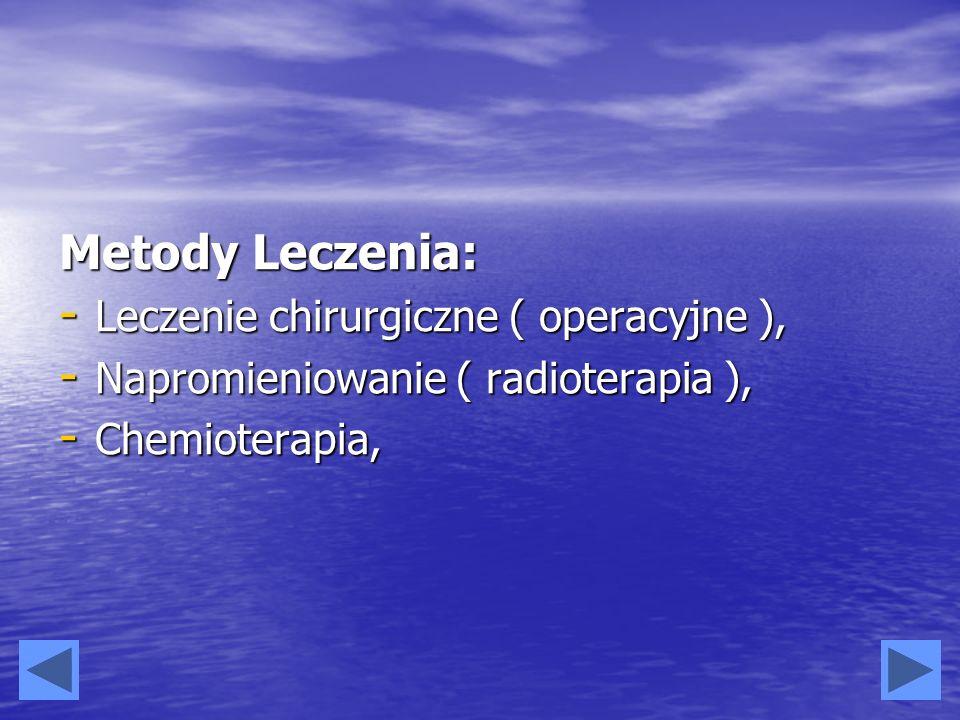 Metody Leczenia: - Leczenie chirurgiczne ( operacyjne ), - Napromieniowanie ( radioterapia ), - Chemioterapia,