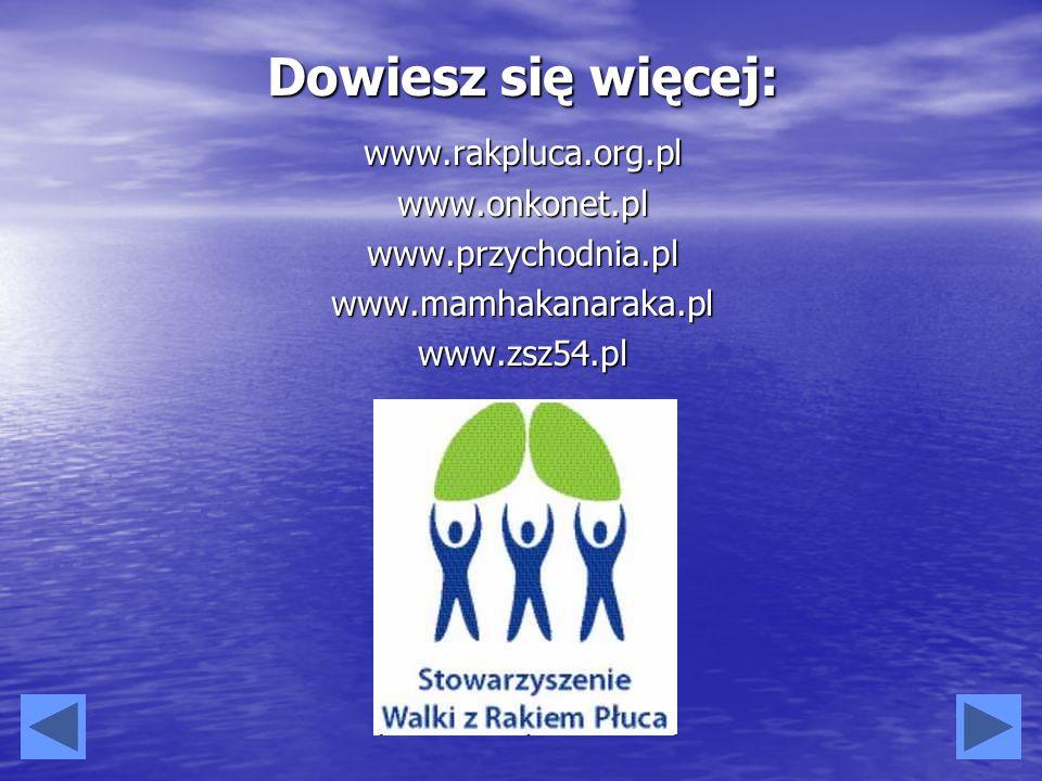 Dowiesz się więcej: www.rakpluca.org.plwww.onkonet.plwww.przychodnia.plwww.mamhakanaraka.plwww.zsz54.pl