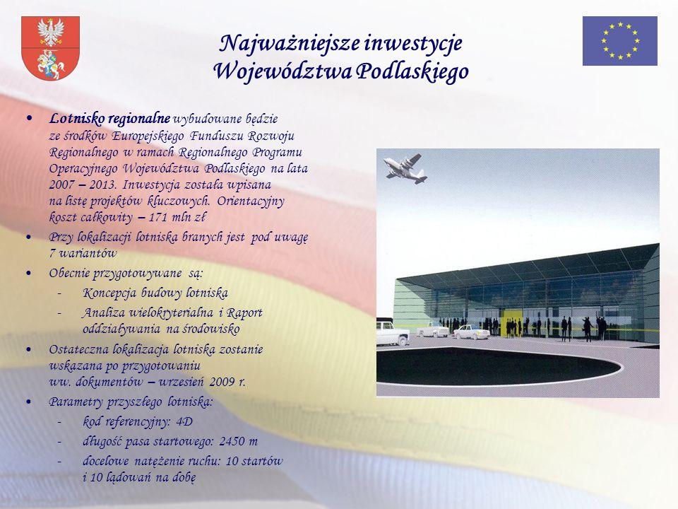 Najważniejsze inwestycje Województwa Podlaskiego Lotnisko regionalne wybudowane będzie ze środków Europejskiego Funduszu Rozwoju Regionalnego w ramach Regionalnego Programu Operacyjnego Województwa Podlaskiego na lata 2007 – 2013.