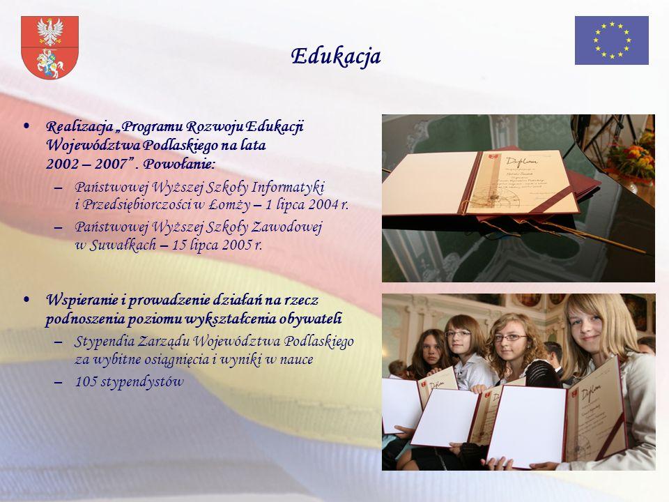 Edukacja Realizacja Programu Rozwoju Edukacji Województwa Podlaskiego na lata 2002 – 2007. Powołanie: –Państwowej Wyższej Szkoły Informatyki i Przedsi