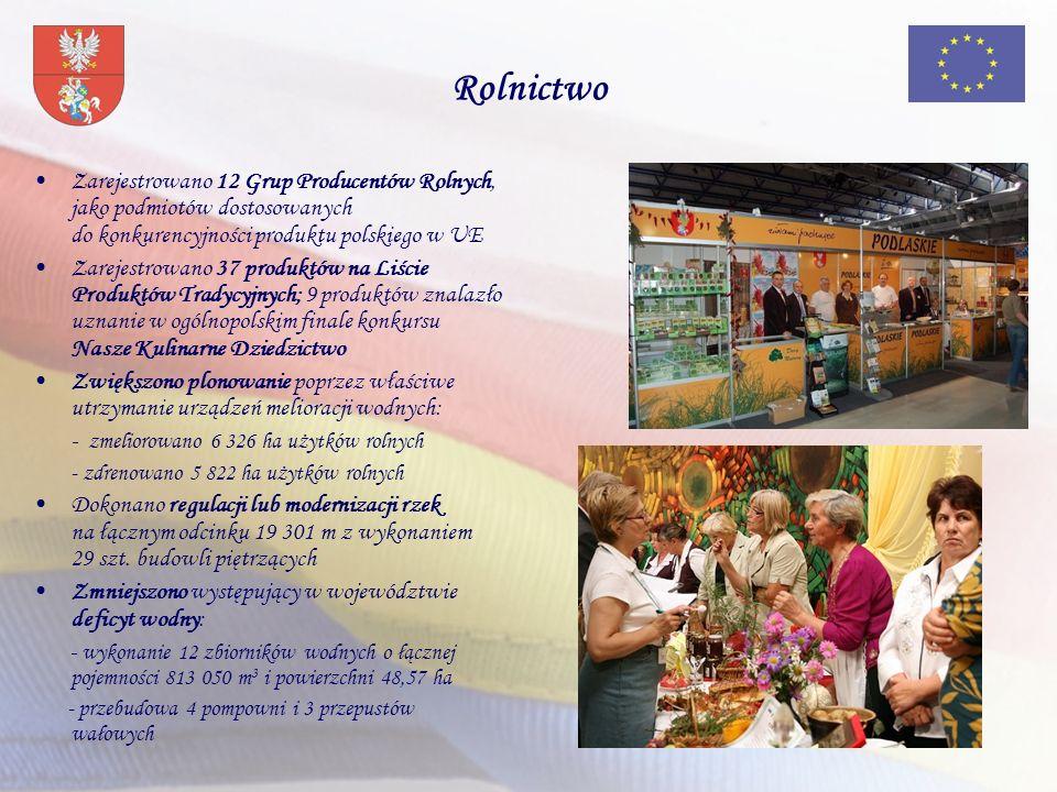 Rolnictwo Zarejestrowano 12 Grup Producentów Rolnych, jako podmiotów dostosowanych do konkurencyjności produktu polskiego w UE Zarejestrowano 37 produktów na Liście Produktów Tradycyjnych; 9 produktów znalazło uznanie w ogólnopolskim finale konkursu Nasze Kulinarne Dziedzictwo Zwiększono plonowanie poprzez właściwe utrzymanie urządzeń melioracji wodnych: - zmeliorowano 6 326 ha użytków rolnych - zdrenowano 5 822 ha użytków rolnych Dokonano regulacji lub modernizacji rzek na łącznym odcinku 19 301 m z wykonaniem 29 szt.
