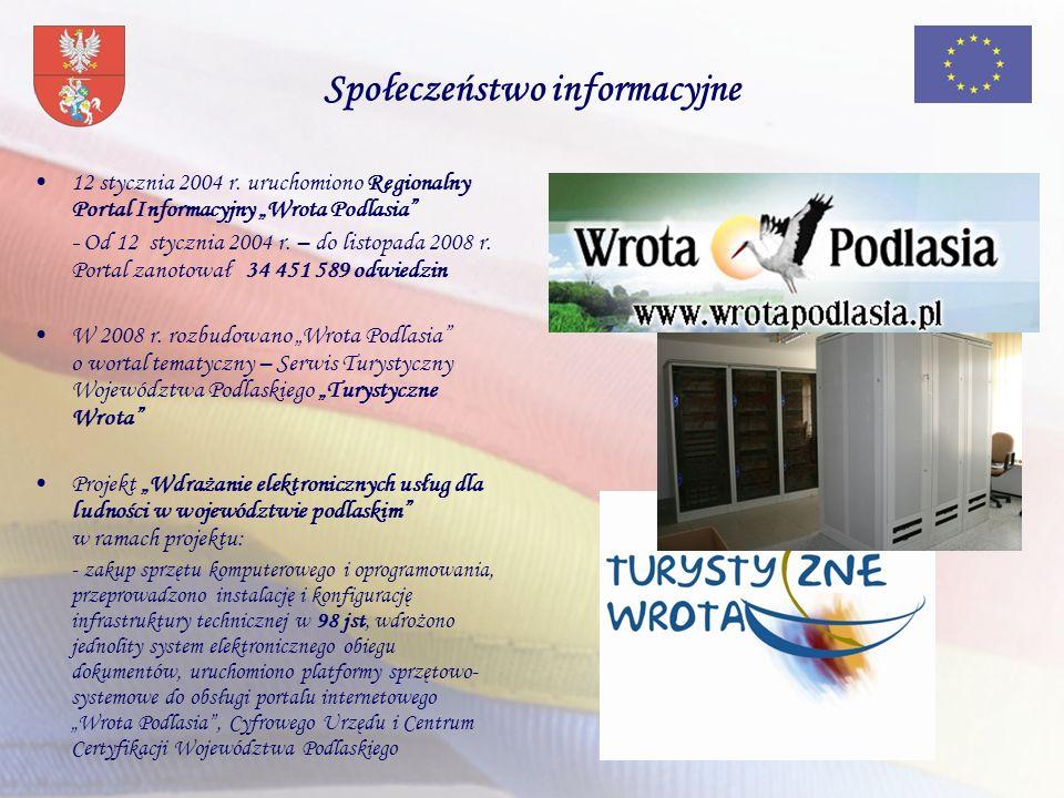 Społeczeństwo informacyjne 12 stycznia 2004 r. uruchomiono Regionalny Portal Informacyjny Wrota Podlasia - Od 12 stycznia 2004 r. – do listopada 2008