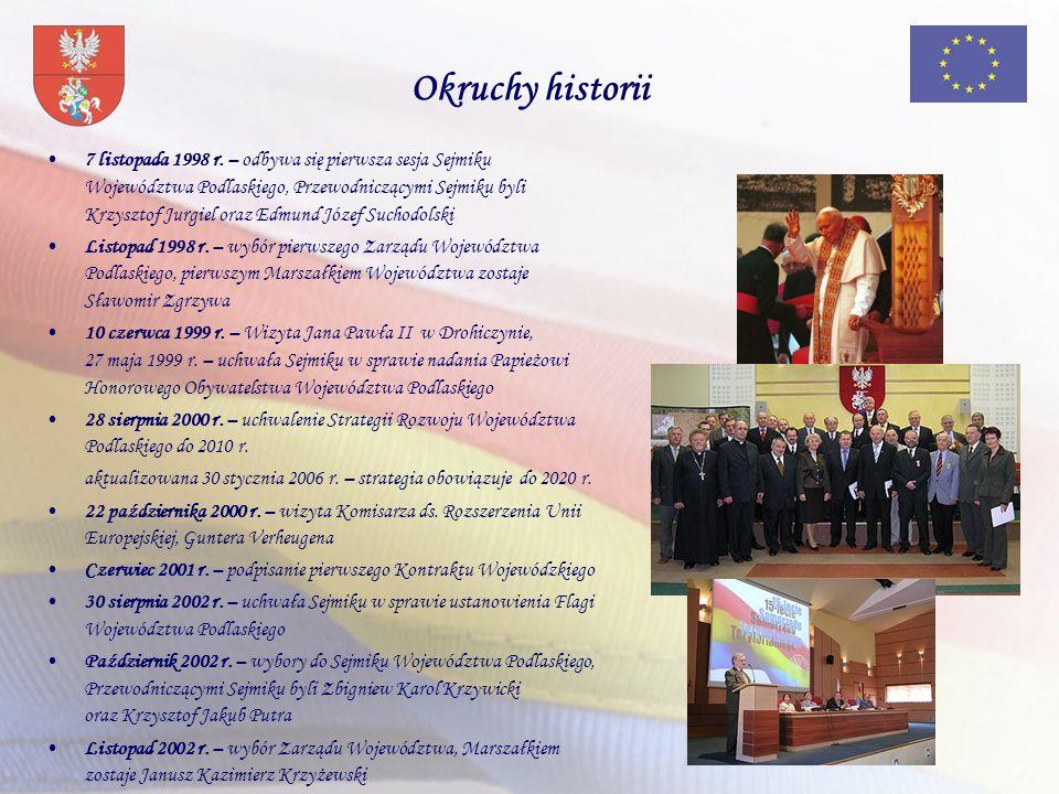7 listopada 1998 r. – odbywa się pierwsza sesja Sejmiku Województwa Podlaskiego, Przewodniczącymi Sejmiku byli Krzysztof Jurgiel oraz Edmund Józef Suc