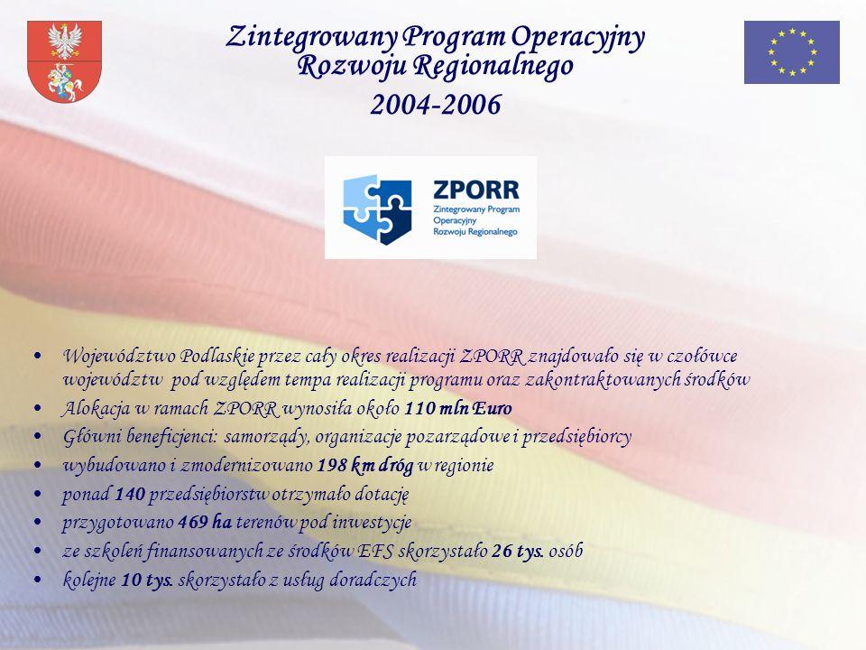 Zintegrowany Program Operacyjny Rozwoju Regionalnego 2004-2006 Województwo Podlaskie przez cały okres realizacji ZPORR znajdowało się w czołówce województw pod względem tempa realizacji programu oraz zakontraktowanych środków Alokacja w ramach ZPORR wynosiła około 110 mln Euro Główni beneficjenci: samorządy, organizacje pozarządowe i przedsiębiorcy wybudowano i zmodernizowano 198 km dróg w regionie ponad 140 przedsiębiorstw otrzymało dotację przygotowano 469 ha terenów pod inwestycje ze szkoleń finansowanych ze środków EFS skorzystało 26 tys.
