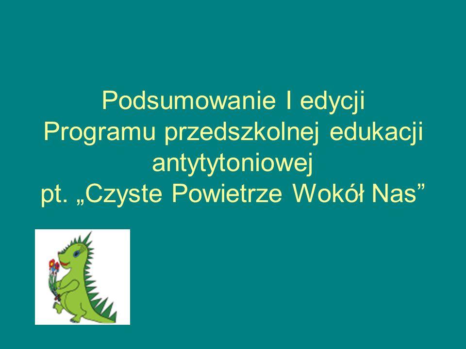 Podsumowanie I edycji Programu przedszkolnej edukacji antytytoniowej pt. Czyste Powietrze Wokół Nas