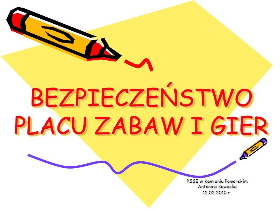 BEZPIECZEŃSTWO PLACU ZABAW I GIER PSSE w Kamieniu Pomorskim Antonina Kawecka 12.02.2010 r.