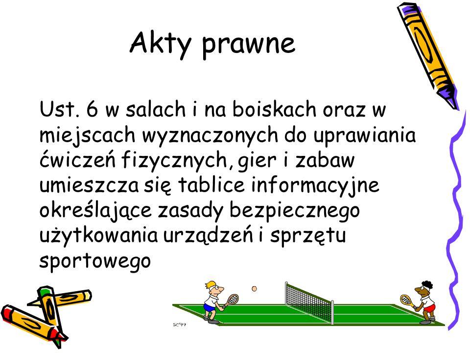 Akty prawne Ust. 6 w salach i na boiskach oraz w miejscach wyznaczonych do uprawiania ćwiczeń fizycznych, gier i zabaw umieszcza się tablice informacy