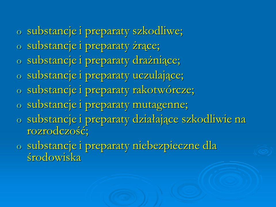 o substancje i preparaty szkodliwe; o substancje i preparaty żrące; o substancje i preparaty drażniące; o substancje i preparaty uczulające; o substan
