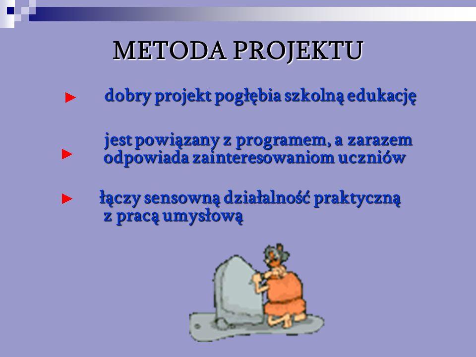 METODA PROJEKTU dobry projekt pogłębia szkolną edukację dobry projekt pogłębia szkolną edukację jest powiązany z programem, a zarazem odpowiada zainte