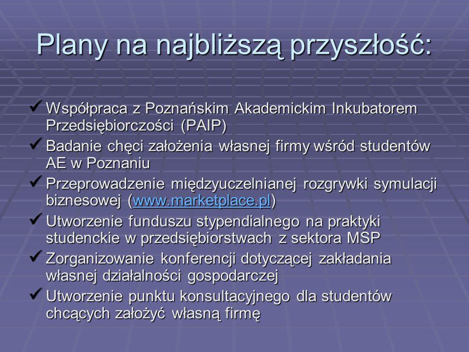 Plany na najbliższą przyszłość: Współpraca z Poznańskim Akademickim Inkubatorem Przedsiębiorczości (PAIP) Współpraca z Poznańskim Akademickim Inkubato