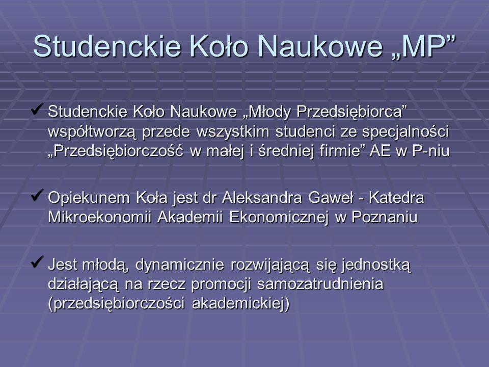 Studenckie Koło Naukowe MP Studenckie Koło Naukowe Młody Przedsiębiorca współtworzą przede wszystkim studenci ze specjalności Przedsiębiorczość w małe