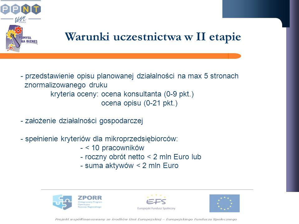 Warunki uczestnictwa w II etapie - przedstawienie opisu planowanej działalności na max 5 stronach znormalizowanego druku kryteria oceny: ocena konsult