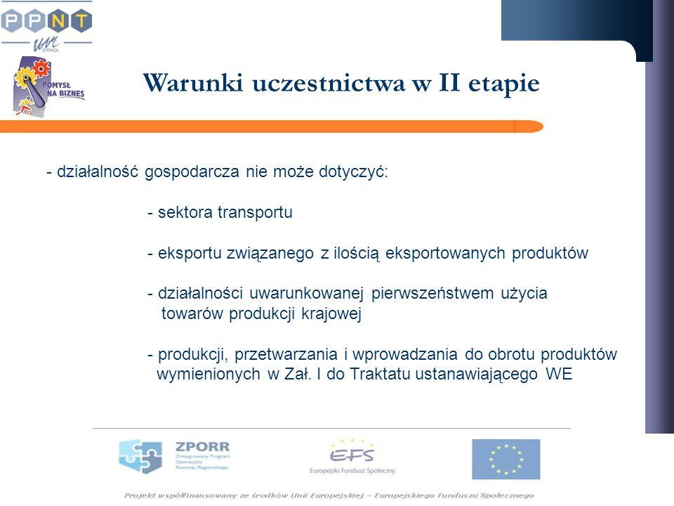 Warunki uczestnictwa w II etapie - działalność gospodarcza nie może dotyczyć: - sektora transportu - eksportu związanego z ilością eksportowanych produktów - działalności uwarunkowanej pierwszeństwem użycia towarów produkcji krajowej - produkcji, przetwarzania i wprowadzania do obrotu produktów wymienionych w Zał.