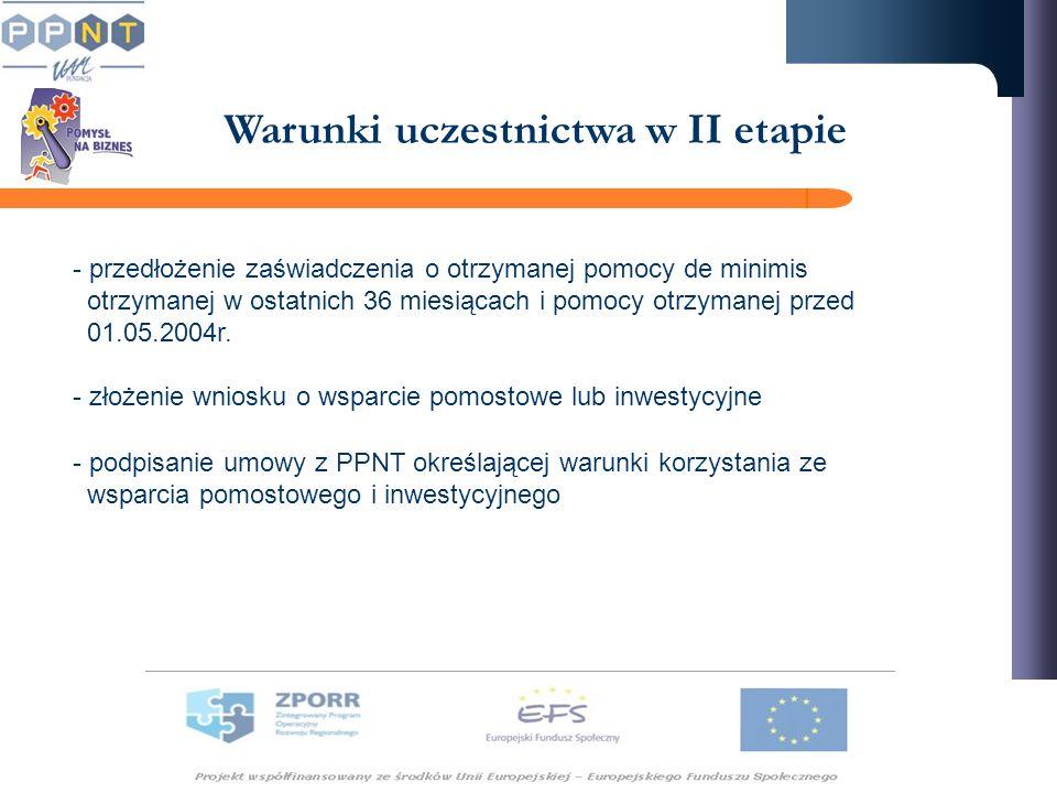 Warunki uczestnictwa w II etapie - przedłożenie zaświadczenia o otrzymanej pomocy de minimis otrzymanej w ostatnich 36 miesiącach i pomocy otrzymanej