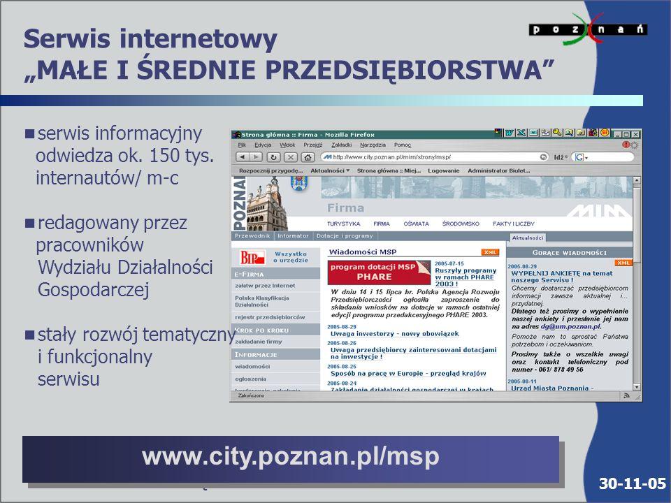 30-11-05 Urząd Miasta Poznania : Bezpłatne seminaria szkoleniowe dla przedsiębiorców: n organizacja i prowadzenie cyklicznych seminariów szkoleniowych na temat pozyskiwania dotacji i funduszy UE n organizacja cyklicznych seminariów na tematy dotyczące prowadzenia działalności gospodarczej (podatek VAT, akcyza, rozliczenia UE, system INTRASTAT i inne), w tym również - na terenie krajów UE 1200 uczestników - 2004 r.
