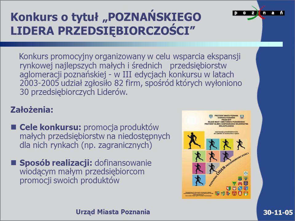 30-11-05 Urząd Miasta Poznania Serwis internetowy MAŁE I ŚREDNIE PRZEDSIĘBIORSTWA www.city.poznan.pl/msp n n serwis informacyjny odwiedza ok.