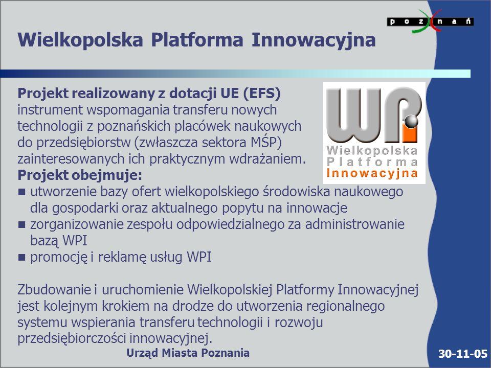 30-11-05 Urząd Miasta Poznania Konkurs o tytuł POZNAŃSKIEGO LIDERA PRZEDSIĘBIORCZOŚCI Konkurs promocyjny organizowany w celu wsparcia ekspansji rynkowej najlepszych małych i średnich przedsiębiorstw aglomeracji poznańskiej - w III edycjach konkursu w latach 2003-2005 udział zgłosiło 82 firm, spośród których wyłoniono 30 przedsiębiorczych Liderów.
