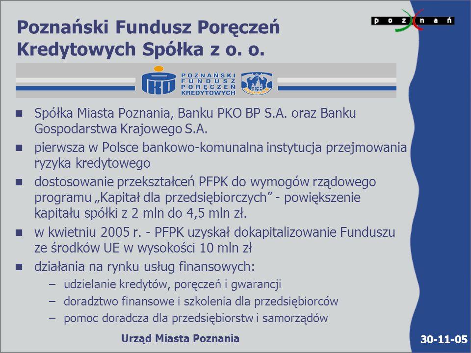 30-11-05 Urząd Miasta Poznania Poznański Ośrodek Wspierania Przedsiębiorczości Działania: n bezpłatne usługi informacyjne, doradcze i szkoleniowe dla osób podejmujących i prowadzących działalność gospodarczą n w roku 2004 z usług Ośrodka skorzystało ca 25 tysięcy osób Przykłady realizowanych przedsięwzięć: n seminaria szkoleniowe Pierwszy krok w biznesie n seminaria szkoleniowe z zakresu korzystania z programów i funduszy UE n prelekcje tematyczne n dyżury specjalistów - konsultantów (prawo, finanse, podatki, kredyty bankowe, planowanie biznesu, marketing) n czytelnia, sklep z ofertami pracy