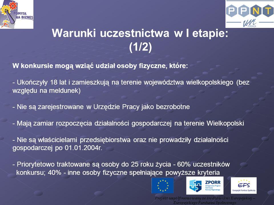 Warunki uczestnictwa w I etapie: (1/2) W konkursie mogą wziąć udział osoby fizyczne, które: - Ukończyły 18 lat i zamieszkują na terenie województwa wi