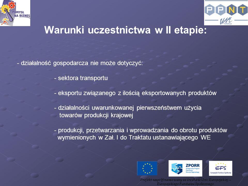 Warunki uczestnictwa w II etapie: - działalność gospodarcza nie może dotyczyć: - sektora transportu - eksportu związanego z ilością eksportowanych pro