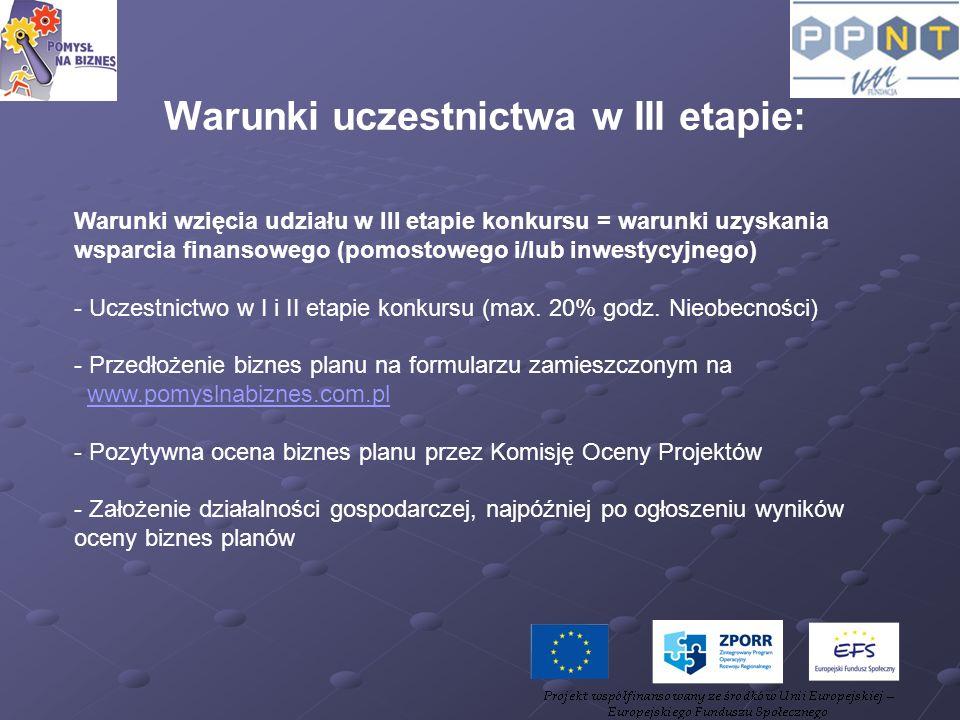 Warunki wzięcia udziału w III etapie konkursu = warunki uzyskania wsparcia finansowego (pomostowego i/lub inwestycyjnego) - Uczestnictwo w I i II etap