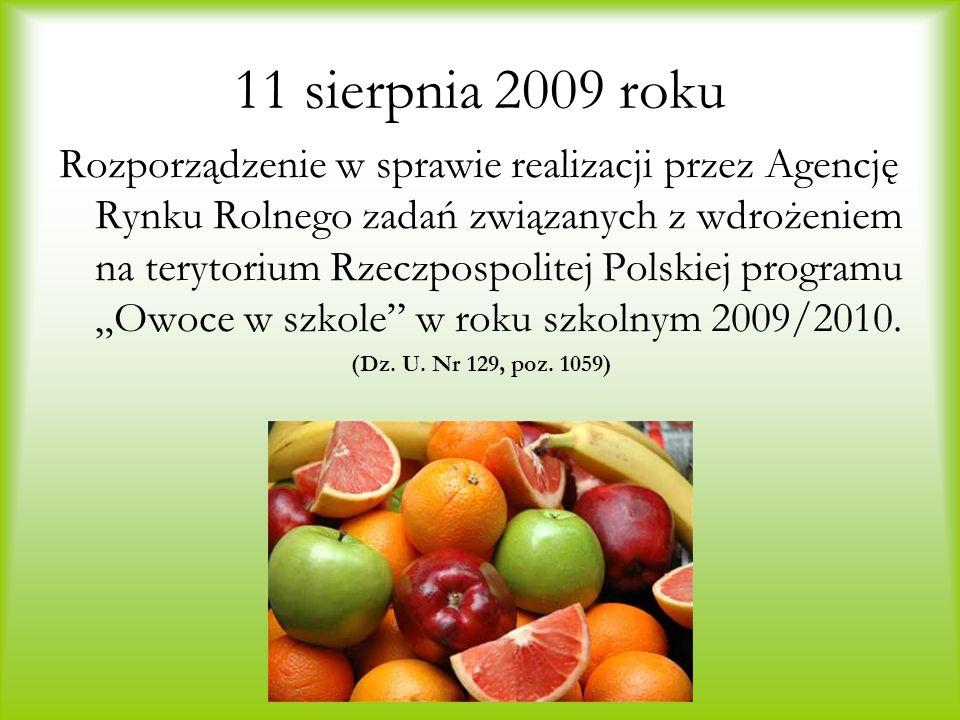 11 sierpnia 2009 roku Rozporządzenie w sprawie realizacji przez Agencję Rynku Rolnego zadań związanych z wdrożeniem na terytorium Rzeczpospolitej Pols