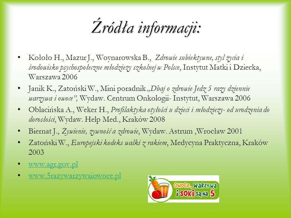 Źródła informacji: Kołoło H., Mazur J., Woynarowska B., Zdrowie subiektywne, styl życia i środowisko psychospołeczne młodzieży szkolnej w Polsce, Inst