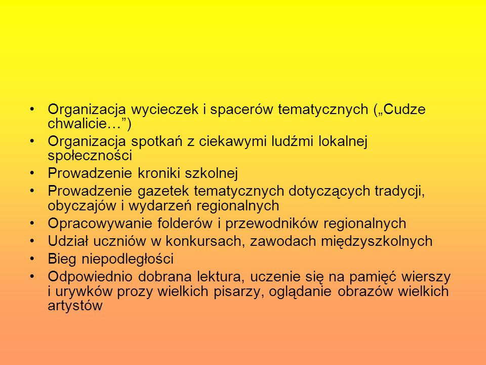Organizacja wycieczek i spacerów tematycznych (Cudze chwalicie…) Organizacja spotkań z ciekawymi ludźmi lokalnej społeczności Prowadzenie kroniki szko