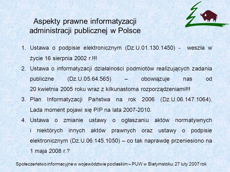 Aspekty prawne informatyzacji administracji publicznej w Polsce 1.Ustawa o podpisie elektronicznym (Dz.U.01.130.1450) - weszła w życie 16 sierpnia 2002 r.!!.