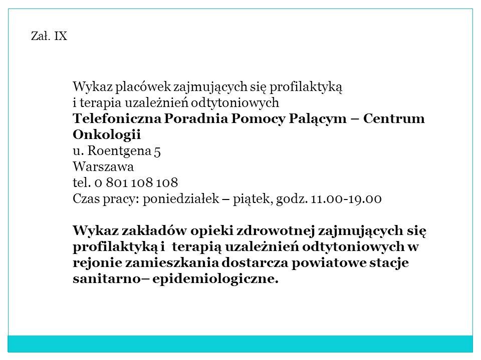 Zał. IX Wykaz placówek zajmujących się profilaktyką i terapia uzależnień odtytoniowych Telefoniczna Poradnia Pomocy Palącym – Centrum Onkologii u. Roe