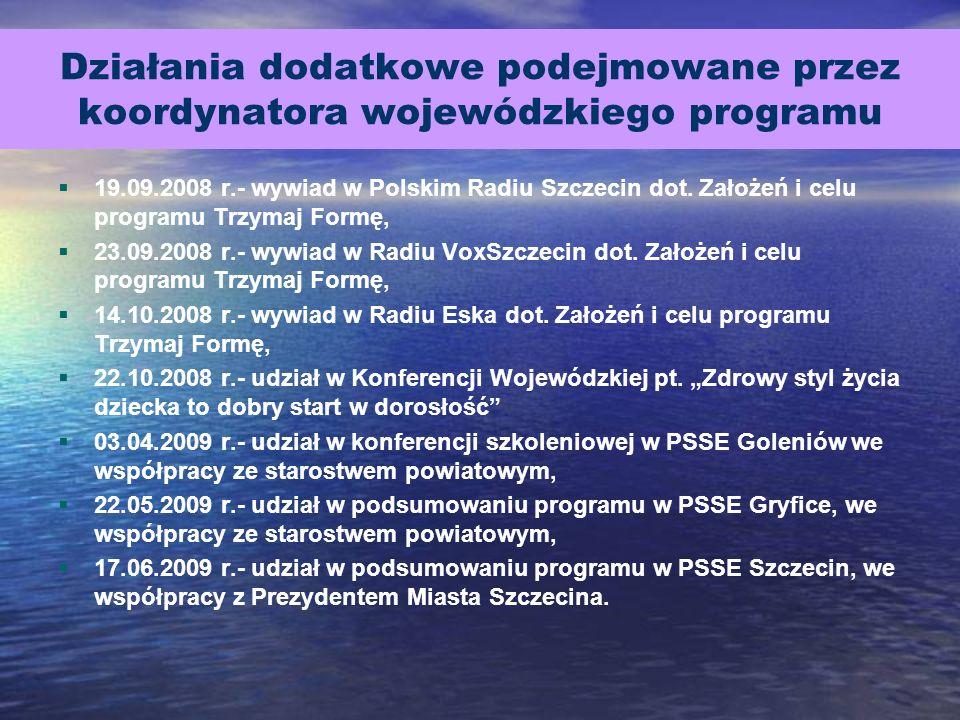 Działania dodatkowe podejmowane przez koordynatora wojewódzkiego programu 19.09.2008 r.- wywiad w Polskim Radiu Szczecin dot. Założeń i celu programu