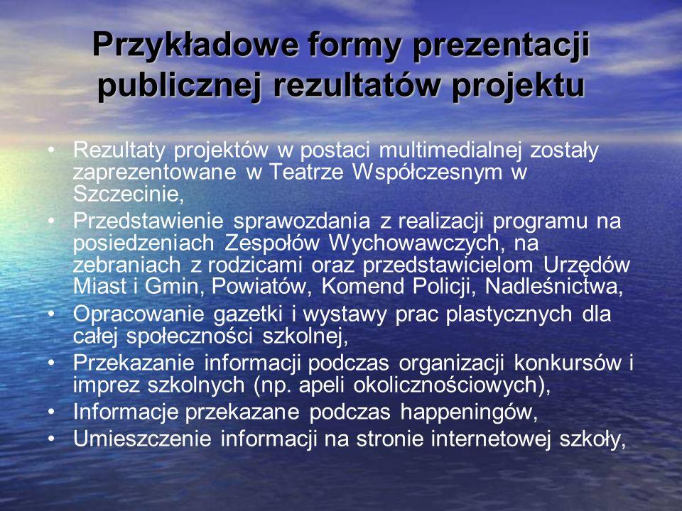 Przykładowe formy prezentacji publicznej rezultatów projektu Rezultaty projektów w postaci multimedialnej zostały zaprezentowane w Teatrze Współczesny