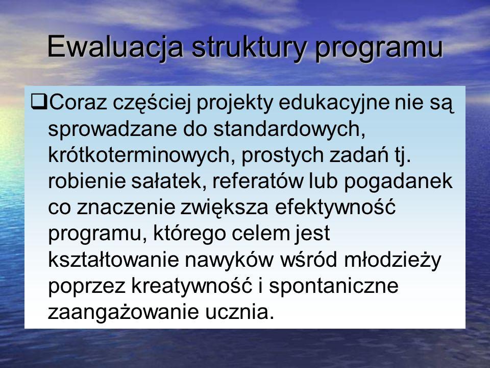 Ewaluacja struktury programu Coraz częściej projekty edukacyjne nie są sprowadzane do standardowych, krótkoterminowych, prostych zadań tj. robienie sa
