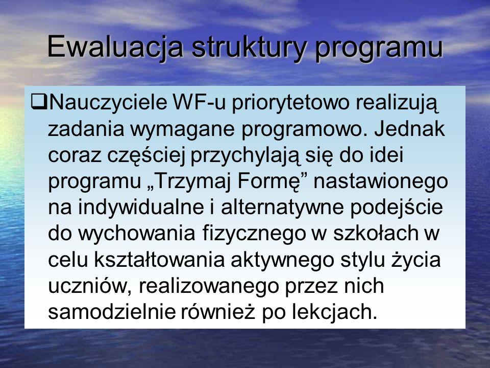 Ewaluacja struktury programu Nauczyciele WF-u priorytetowo realizują zadania wymagane programowo. Jednak coraz częściej przychylają się do idei progra