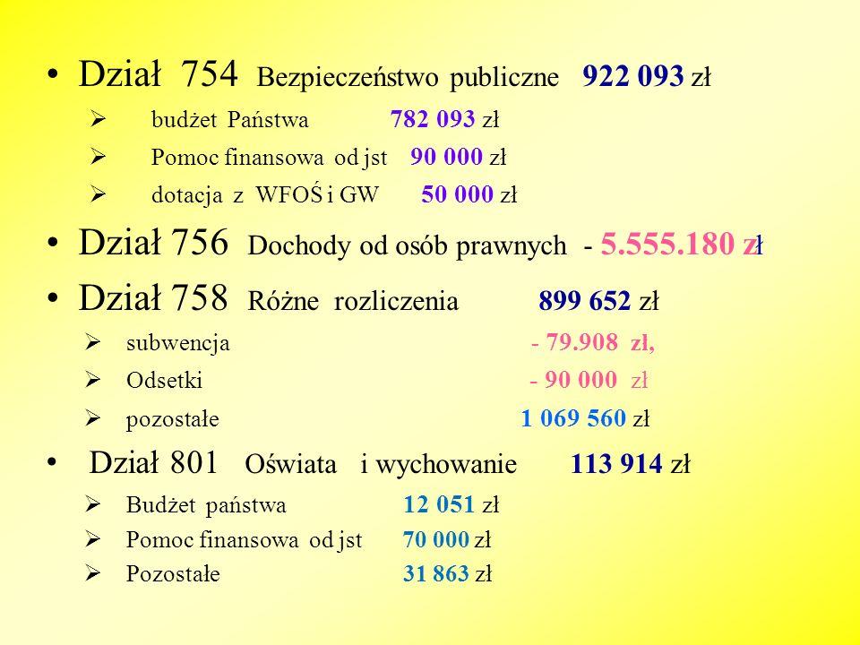 DZ.PLAN NA 01.01.09 ZMIANY +/- PLAN PO ZMIANACH WYKONAN.