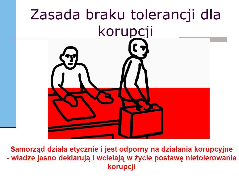 Zasada braku tolerancji dla korupcji Samorząd działa etycznie i jest odporny na działania korupcyjne - władze jasno deklarują i wcielają w życie postawę nietolerowania korupcji