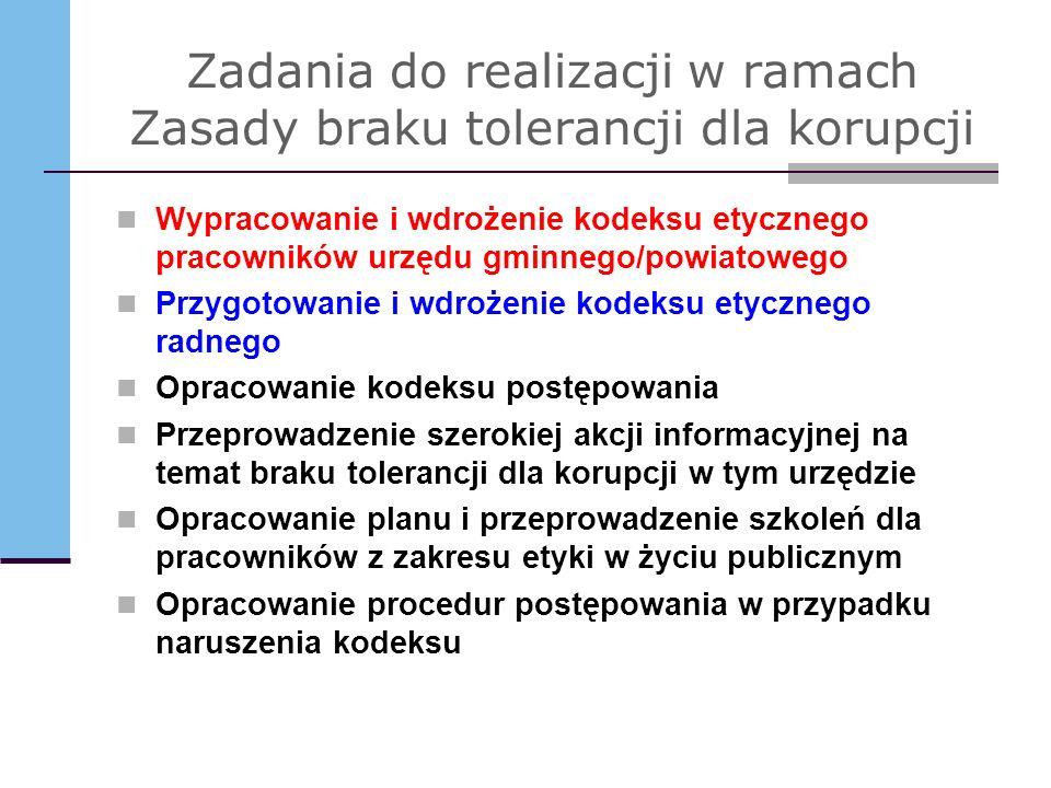 Zadania do realizacji w ramach Zasady braku tolerancji dla korupcji Wypracowanie i wdrożenie kodeksu etycznego pracowników urzędu gminnego/powiatowego