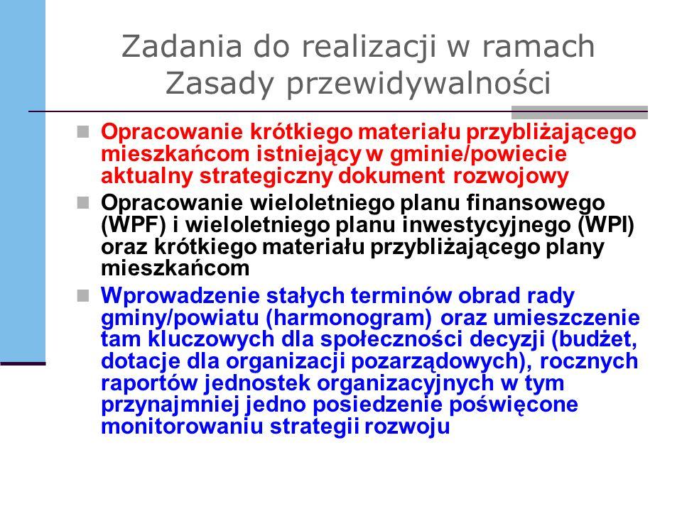 Zadania do realizacji w ramach Zasady przewidywalności Opracowanie krótkiego materiału przybliżającego mieszkańcom istniejący w gminie/powiecie aktual