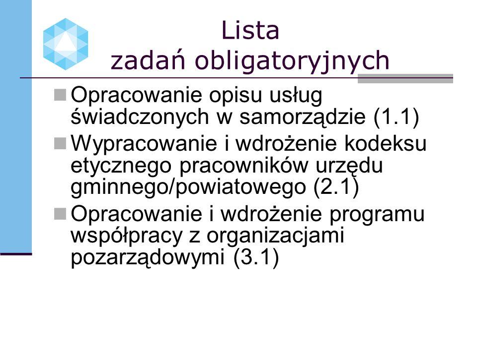 Lista zadań obligatoryjnych Opracowanie opisu usług świadczonych w samorządzie (1.1) Wypracowanie i wdrożenie kodeksu etycznego pracowników urzędu gmi