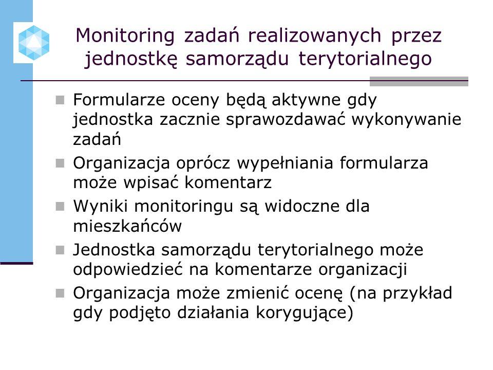 Monitoring zadań realizowanych przez jednostkę samorządu terytorialnego Formularze oceny będą aktywne gdy jednostka zacznie sprawozdawać wykonywanie z