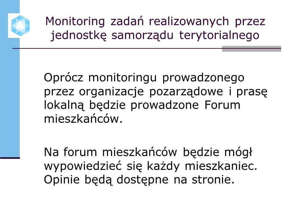 Monitoring zadań realizowanych przez jednostkę samorządu terytorialnego Oprócz monitoringu prowadzonego przez organizacje pozarządowe i prasę lokalną będzie prowadzone Forum mieszkańców.