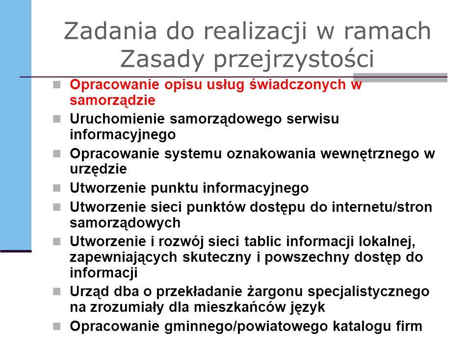 Zadania do realizacji w ramach Zasady przejrzystości Opracowanie opisu usług świadczonych w samorządzie Uruchomienie samorządowego serwisu informacyjn