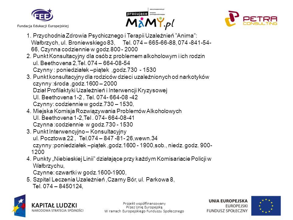 Projekt współfinansowany Przez Unię Europejską W ramach Europejskiego Funduszu Społecznego 1. Przychodnia Zdrowia Psychicznego i Terapii Uzależnień An