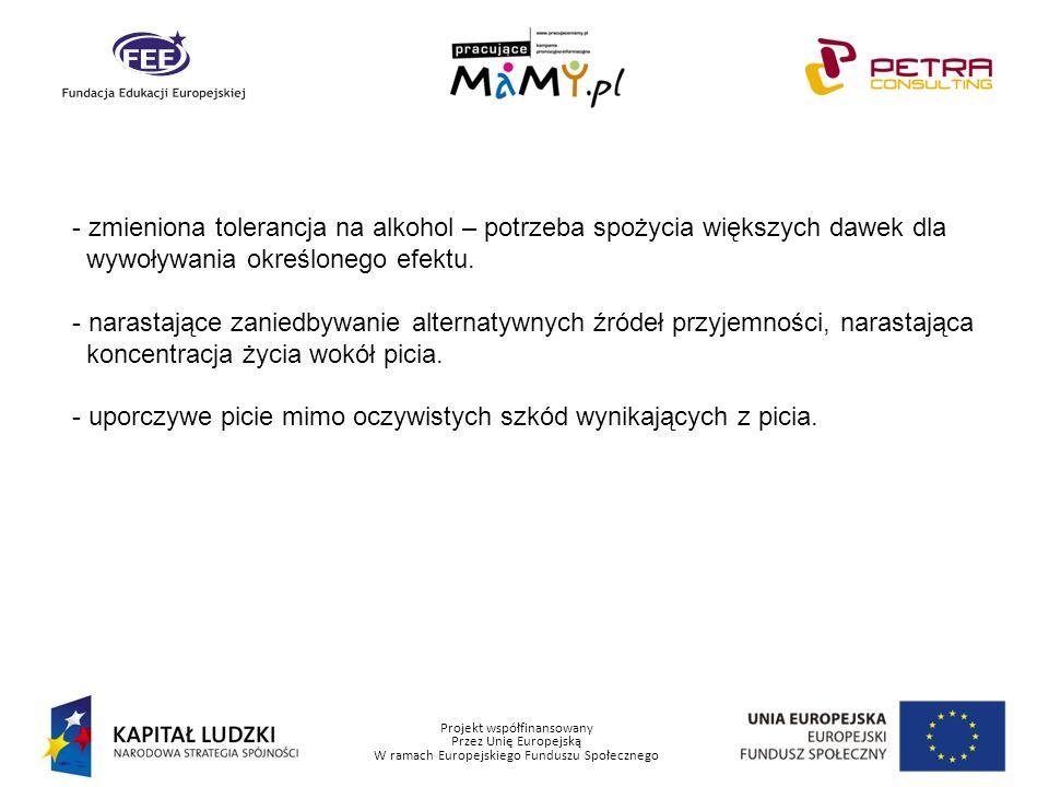 Projekt współfinansowany Przez Unię Europejską W ramach Europejskiego Funduszu Społecznego Psychologiczne mechanizmy uzależnienia.