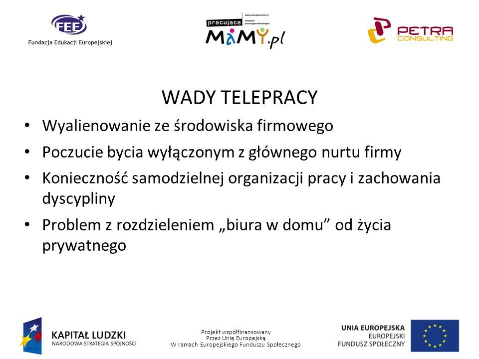 Projekt współfinansowany Przez Unię Europejską W ramach Europejskiego Funduszu Społecznego WADY TELEPRACY Wyalienowanie ze środowiska firmowego Poczuc