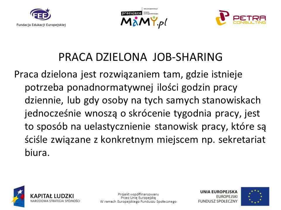 Projekt współfinansowany Przez Unię Europejską W ramach Europejskiego Funduszu Społecznego PRACA DZIELONA JOB-SHARING Praca dzielona jest rozwiązaniem