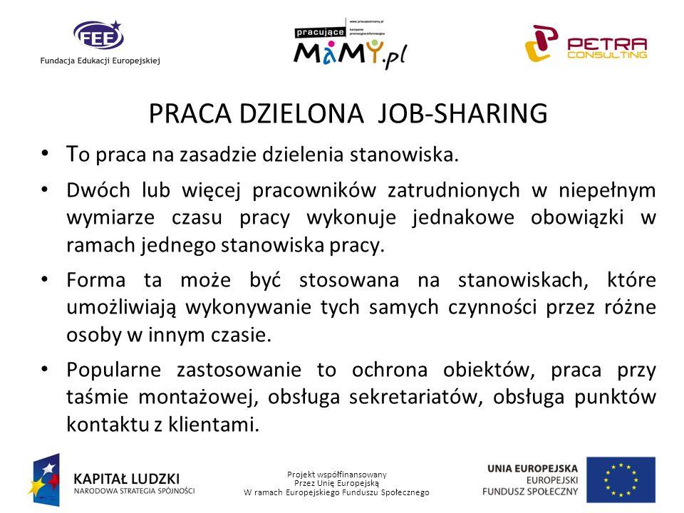 Projekt współfinansowany Przez Unię Europejską W ramach Europejskiego Funduszu Społecznego PRACA DZIELONA JOB-SHARING T o praca na zasadzie dzielenia