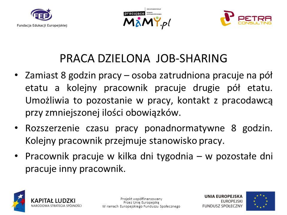 Projekt współfinansowany Przez Unię Europejską W ramach Europejskiego Funduszu Społecznego PRACA DZIELONA JOB-SHARING Zamiast 8 godzin pracy – osoba z